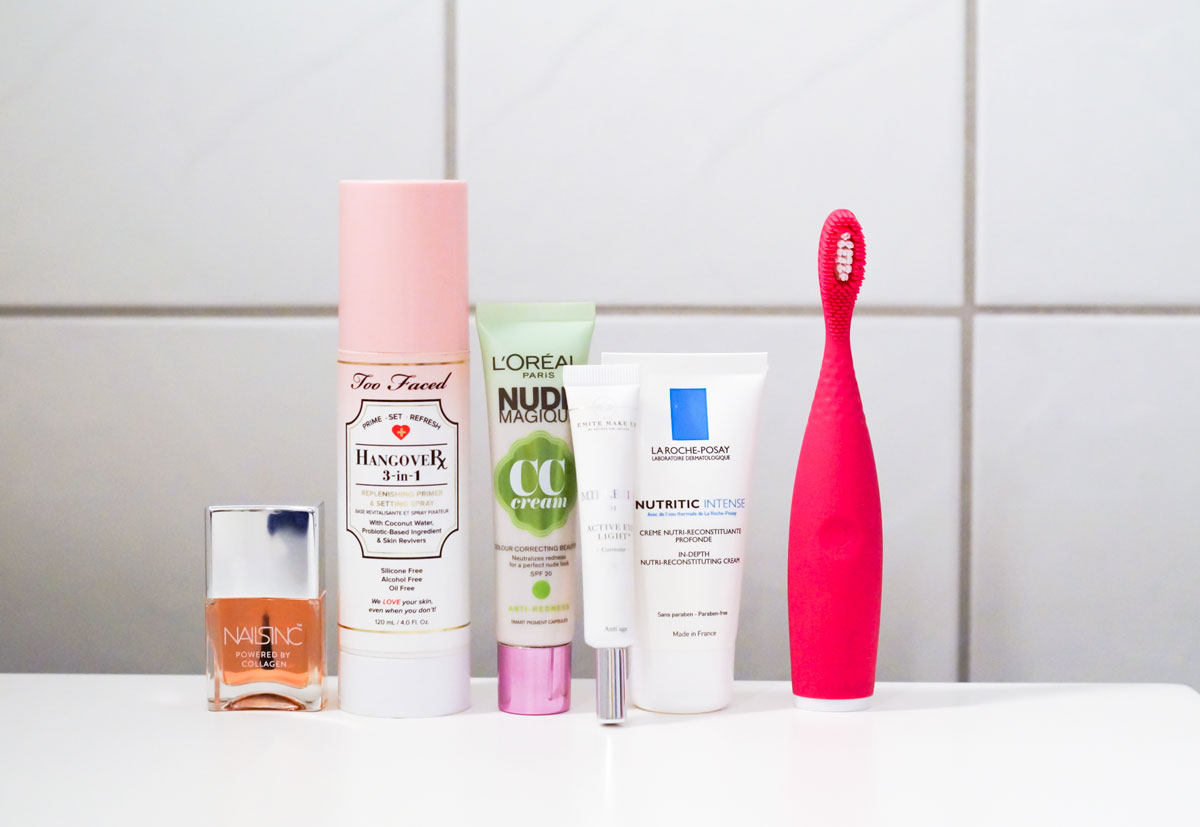 august beauty faves, beauty faves, favoritter, skønhedsfavoritter, august, månedens favoritter, foreo, foreo tandbørste, tandbørste, elektrisk tandbørste, silikone, nailsinc top coat, nailsinc, top coat, loreal nude magique cc cream, loreal, loreal nude magique, cc cream, emité millesis, la roche posay, nutritic intense, active eye light 101 concealer, under eye concealer, blog, blogger, skønhedsblog, beauty blog, camilla nørgaard, camilla nørgaard christensen, camillanoergaard.dk, bloggers delight