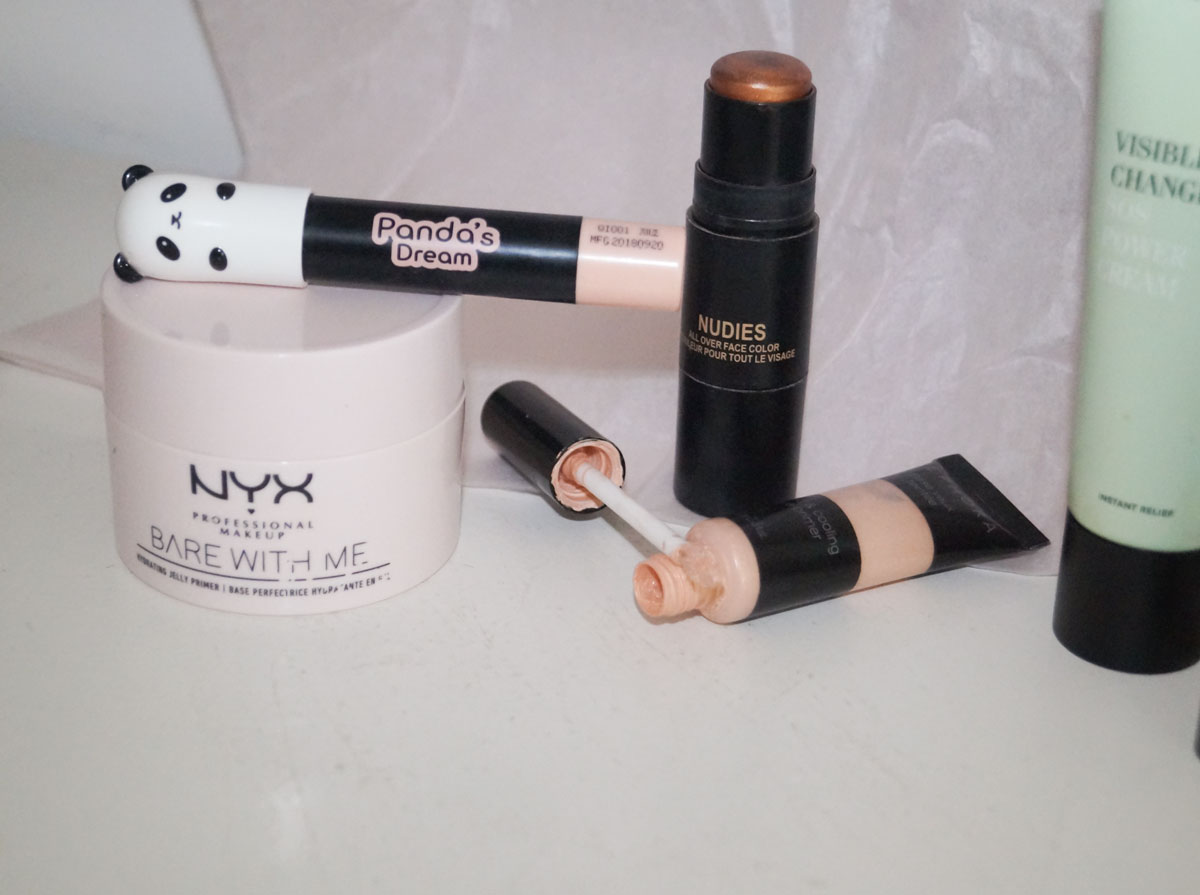 Nyx cosmetics, bare with me, jelly primer, sephora eyeshadow primer, nudestix nudies brown sugar baby, panda's dream highlighter, Tonymoly, eyebrow highlighter, highlighter stick, xellence, sos repair creme, kenny anker, kenny brows, nude by nature, creamy matte lipstick, 03 rose quartz, swatches, camilla nørgaard, camilla nørgaard christensen, camillanoergaard, camillanoergaard.dk, blog, skønhedsblog, beauty blog