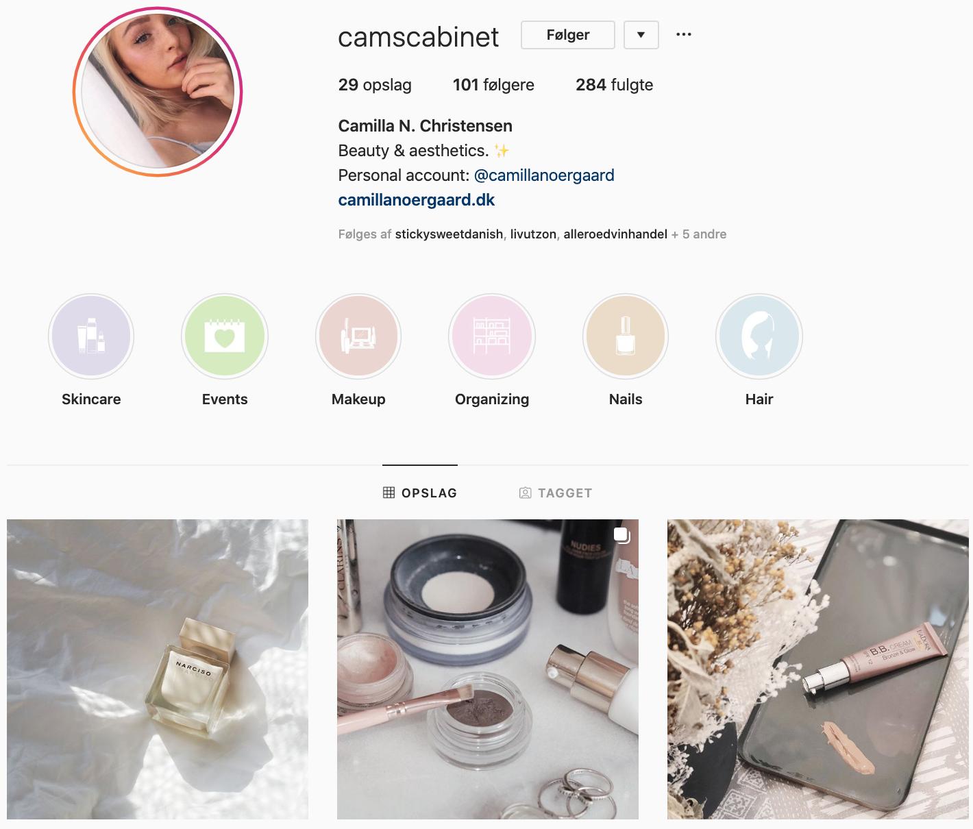 Camillas nye Instagram-profil, @camscabinet