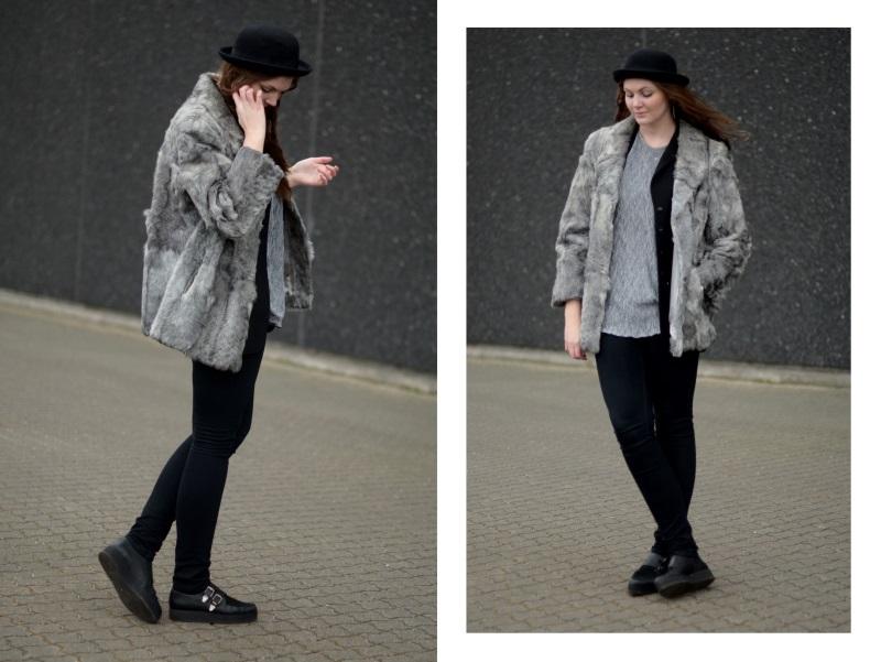 outfit bowler sølvtop grå pels
