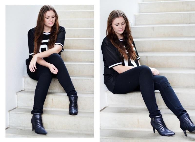 outfit høje støvler sports t-shirt trappe1