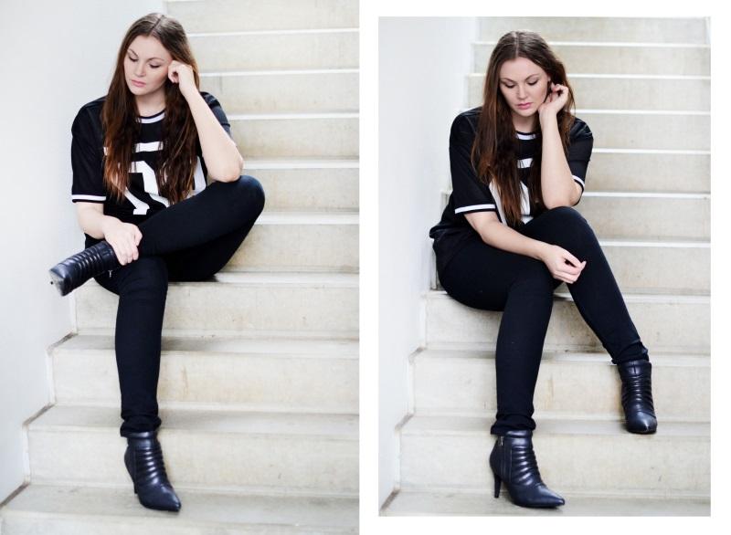 outfit høje støvler sports t-shirt trappe2