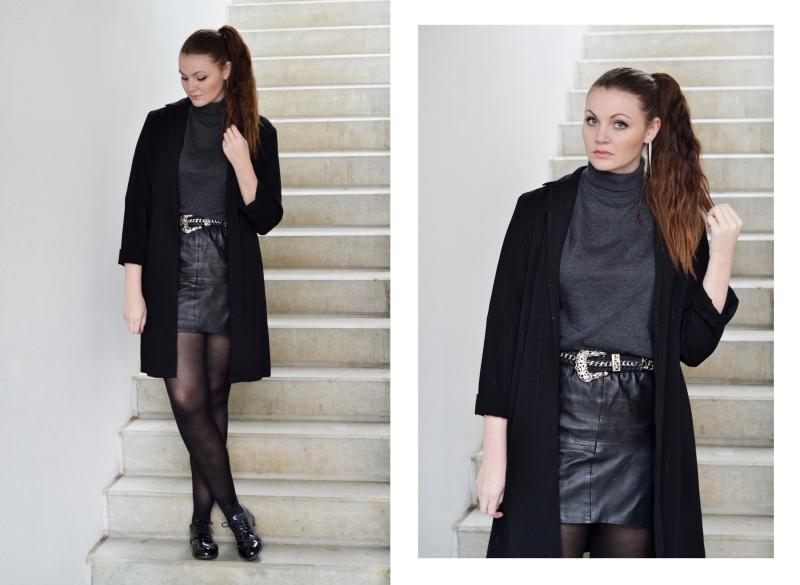 outfit lædernederdel med bælte rullekrave blazer