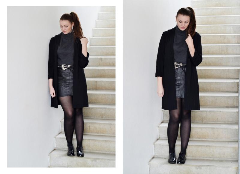 outfit lædernederdel med bælte rullekrave blazer2