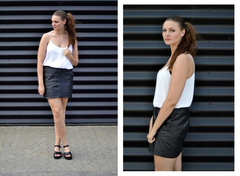 outfit lædernederdel hvid top, sort væg1