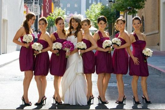 short bridesmaid dresses colored amaranth