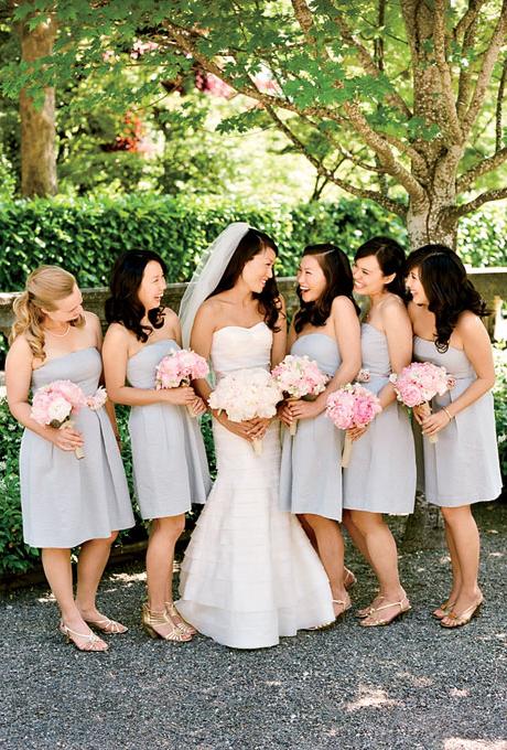 bride with bridesmaids in chic bridesmaid dresses