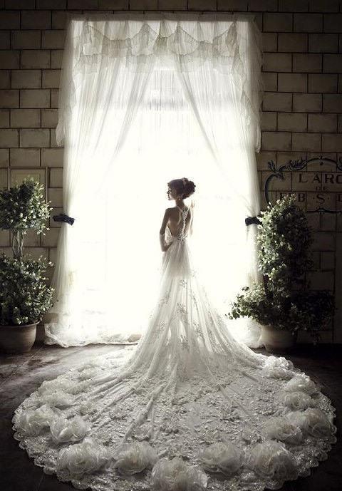 robe de mariée de la Vierge longue dos nu en dentelle
