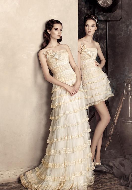 robe de mariée des Gémeaux à volants étagés longue