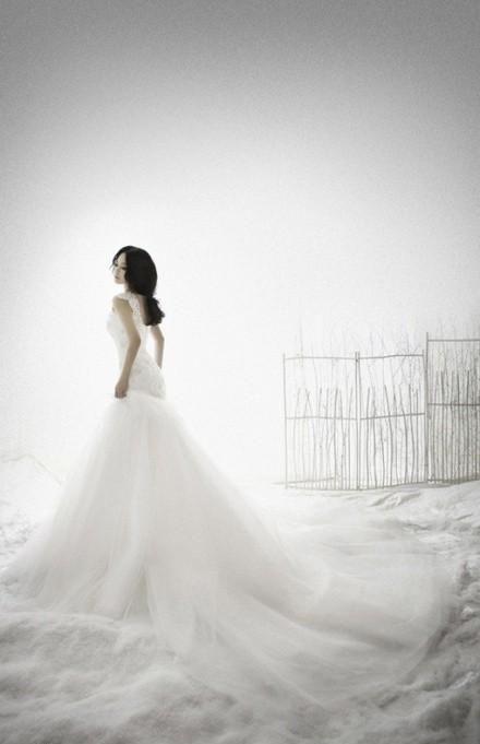 robe de mariage du Cancer sirène blanche  en tulle