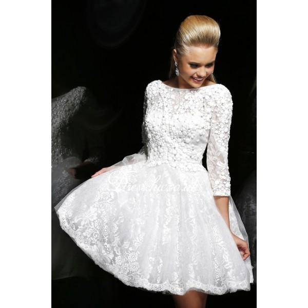 robe de bal blanche en dentelle dos échancré avec manches longues