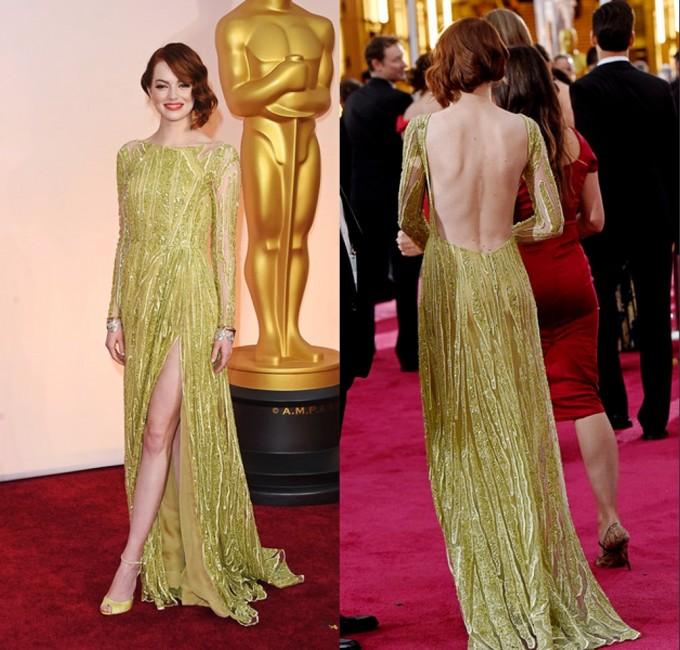 Emma-Stone-robe dos nu-2015-Oscars-