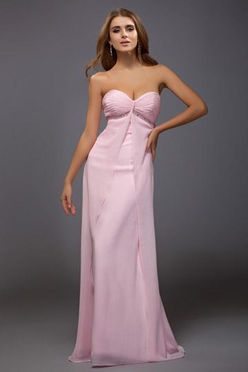 Rose robe simple en mousseline sans bretelle bustier cœur