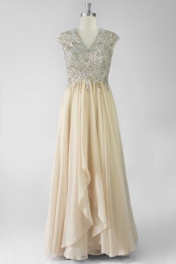Luxe robe soirée en tencel à haut orné de strass et sequins
