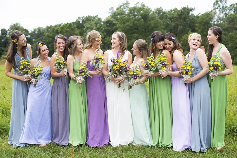 robes Mismatched demoiselles d'honneur