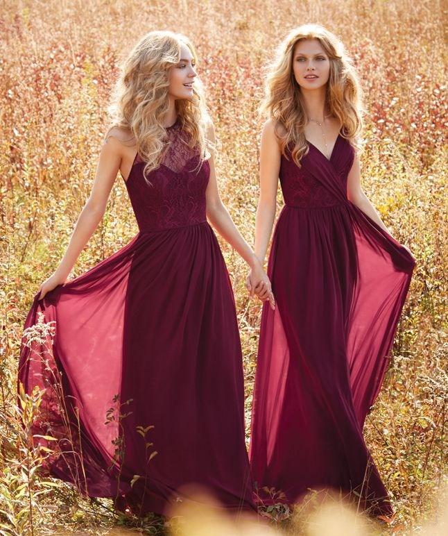 robe-demoiselle-d-honneur-longue-vintage-bordeaux