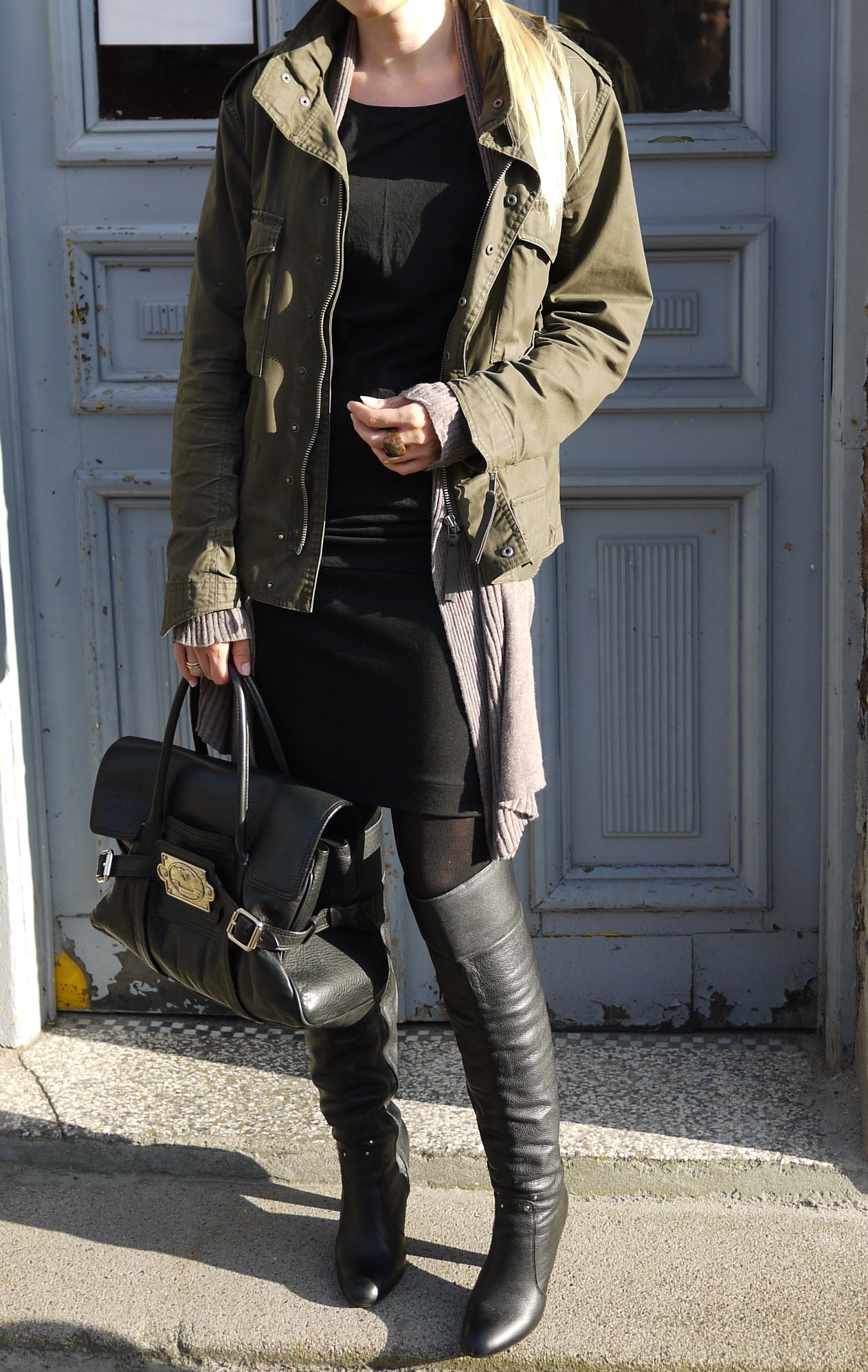 dress:h&m, overknees: vintage, armyjacket:my husbands and bag Luella