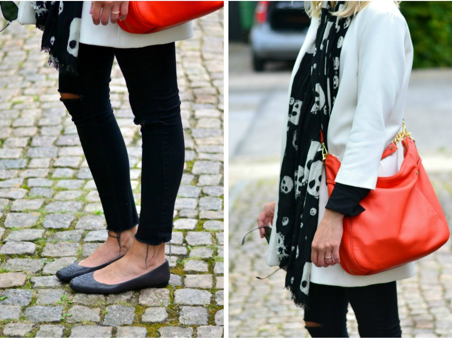 zara white coat - kenzo ballerinas - orange michael kors bag1