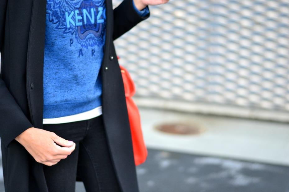blue kenzo sweater - orange michael kors bag - zara coat - michael kors studded boots4
