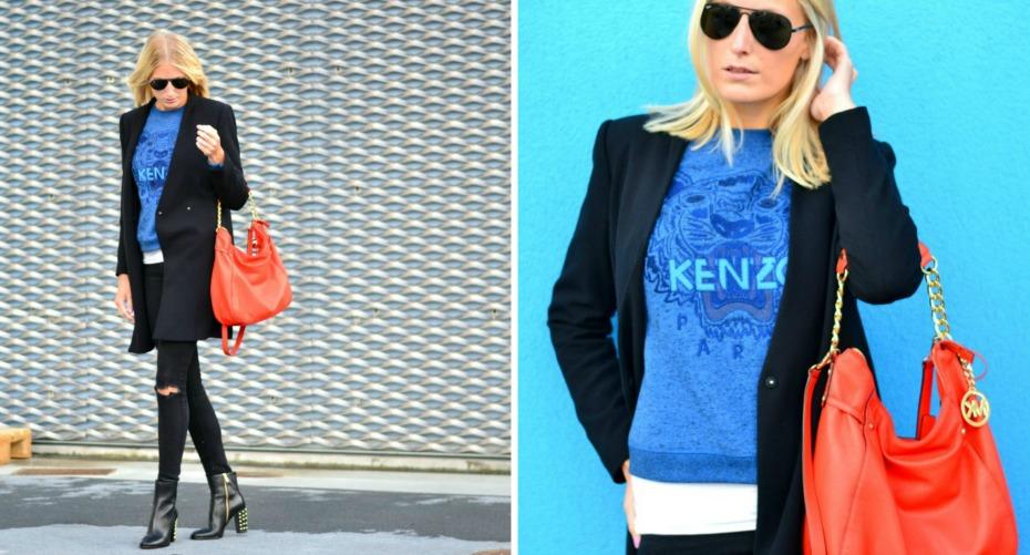 blue kenzo sweater - orange michael kors bag - zara coat - michael kors studded boots