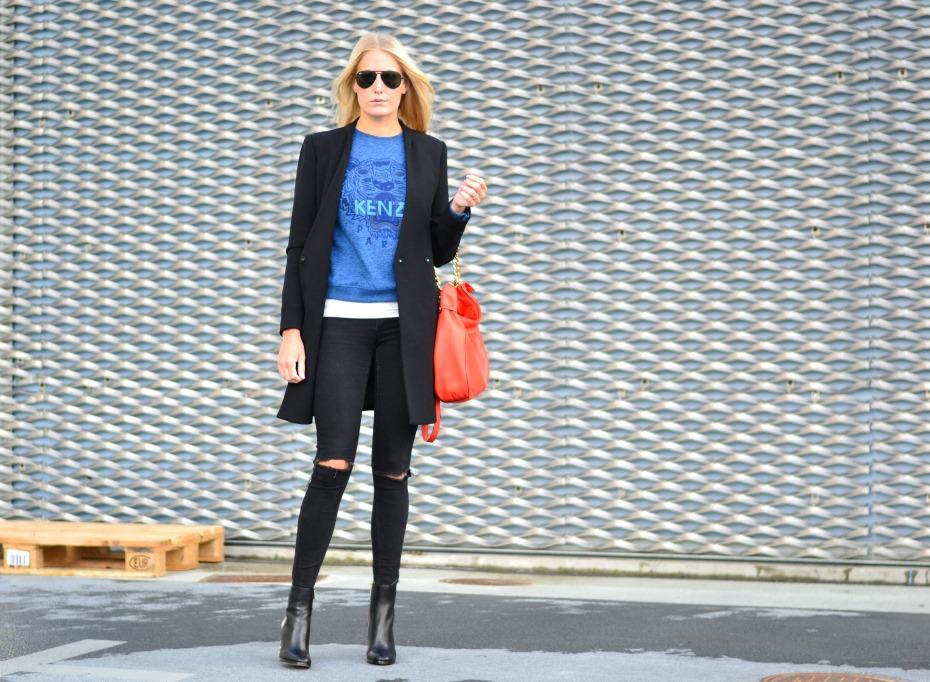 blue kenzo sweater - orange michael kors bag - zara coat - michael kors studded boots2