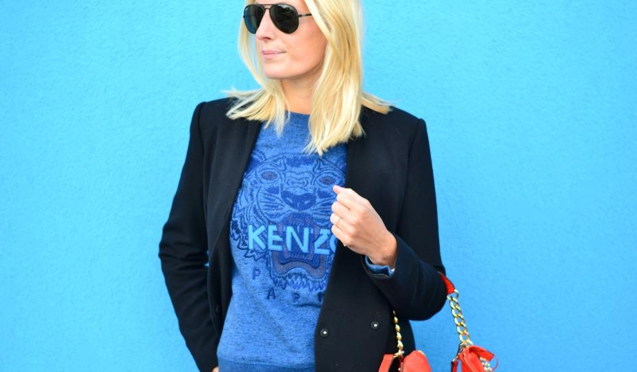 blue kenzo sweater - orange michael kors bag - zara coat - michael kors studded boots5