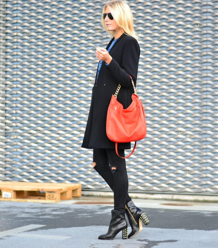 blue kenzo sweater - orange michael kors bag - zara coat - michael kors studded boots3