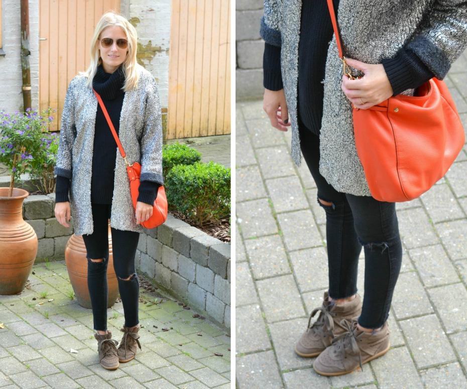 H&M trend silver cardigan - michael kors orange bag - chanel sunglasses - isabel marant sneakers2