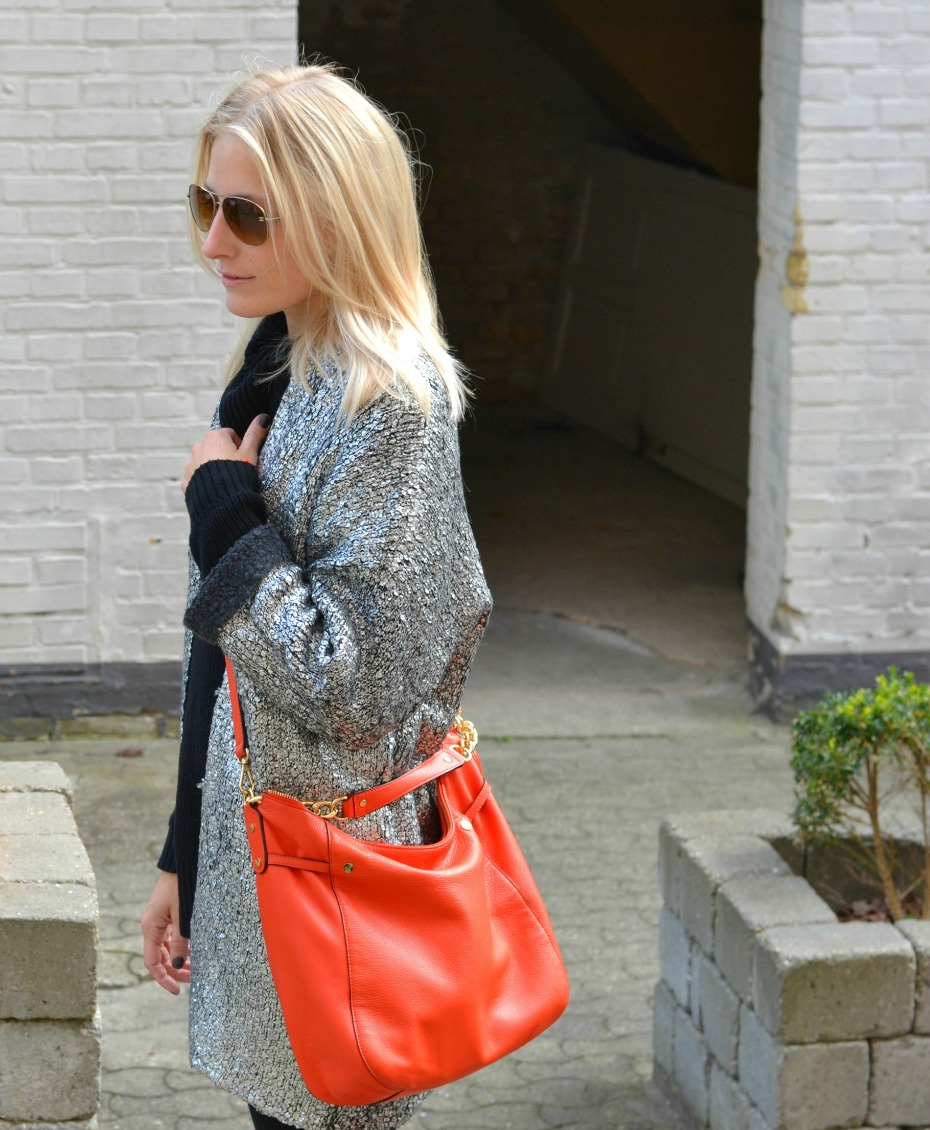 H&M trend silver cardigan - michael kors orange bag - chanel sunglasses - isabel marant sneakers