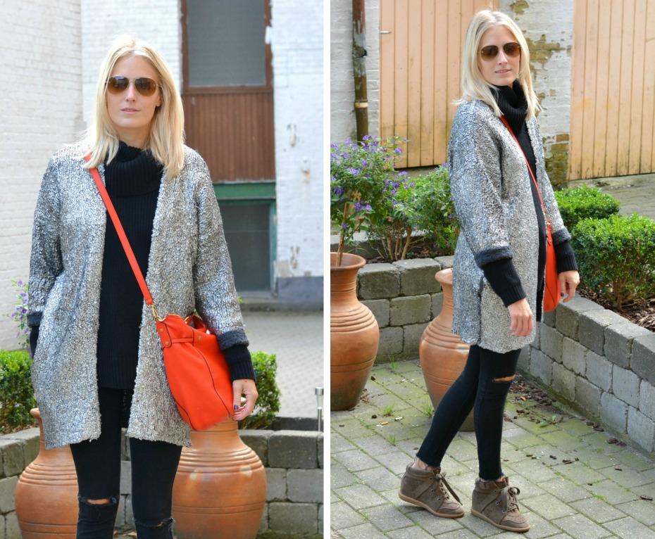 H&M trend silver cardigan - michael kors orange bag - chanel sunglasses - isabel marant sneakers1