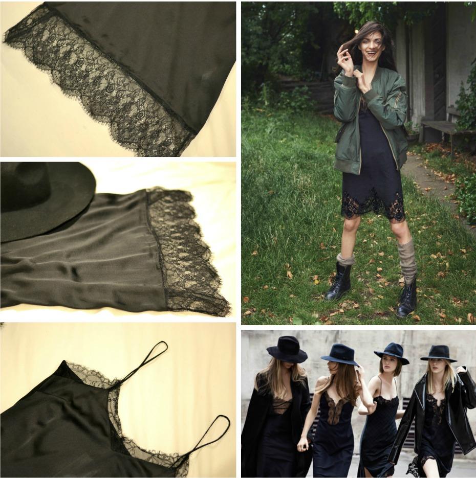 zara black lace dress aw'13