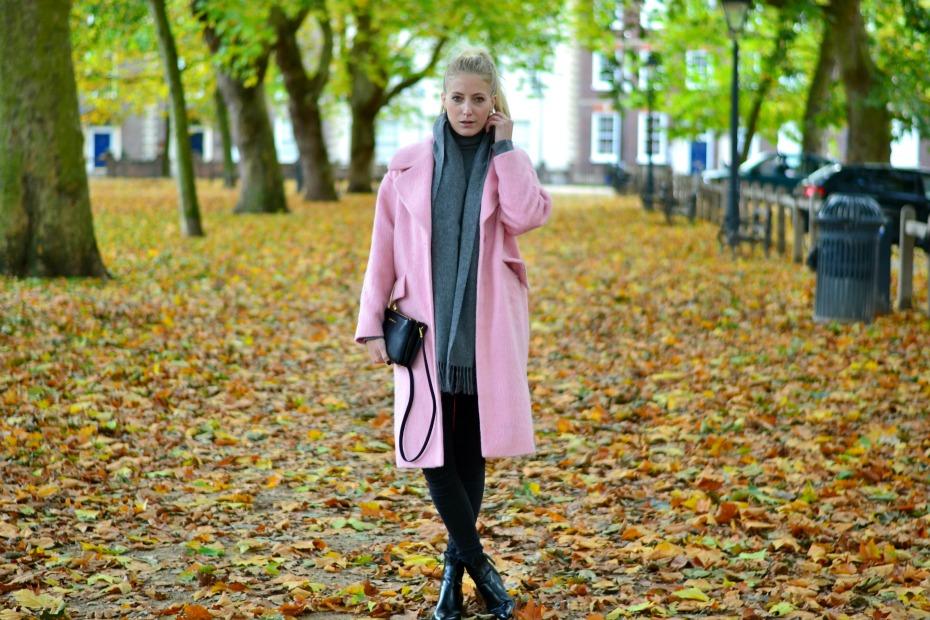 asos pink coat_michael kors trio bag_benetton turtleneck