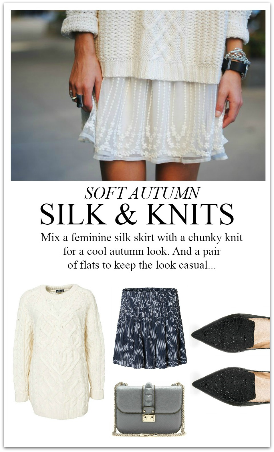 silk skirt and knit