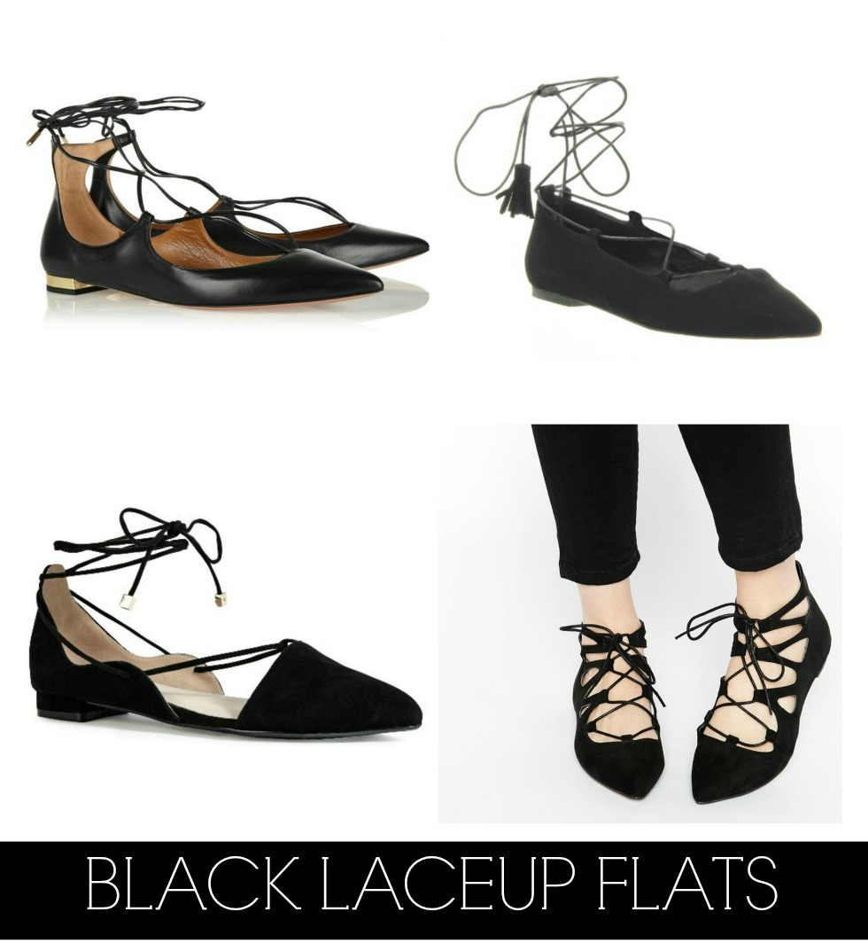 black laceup strappy flats