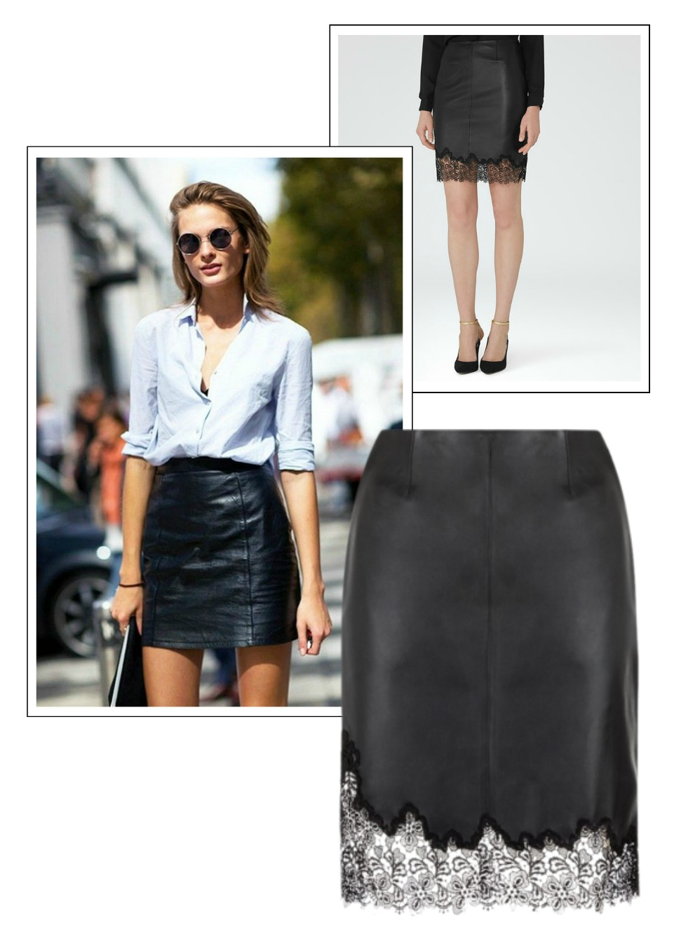 reiss leather and lace skirt