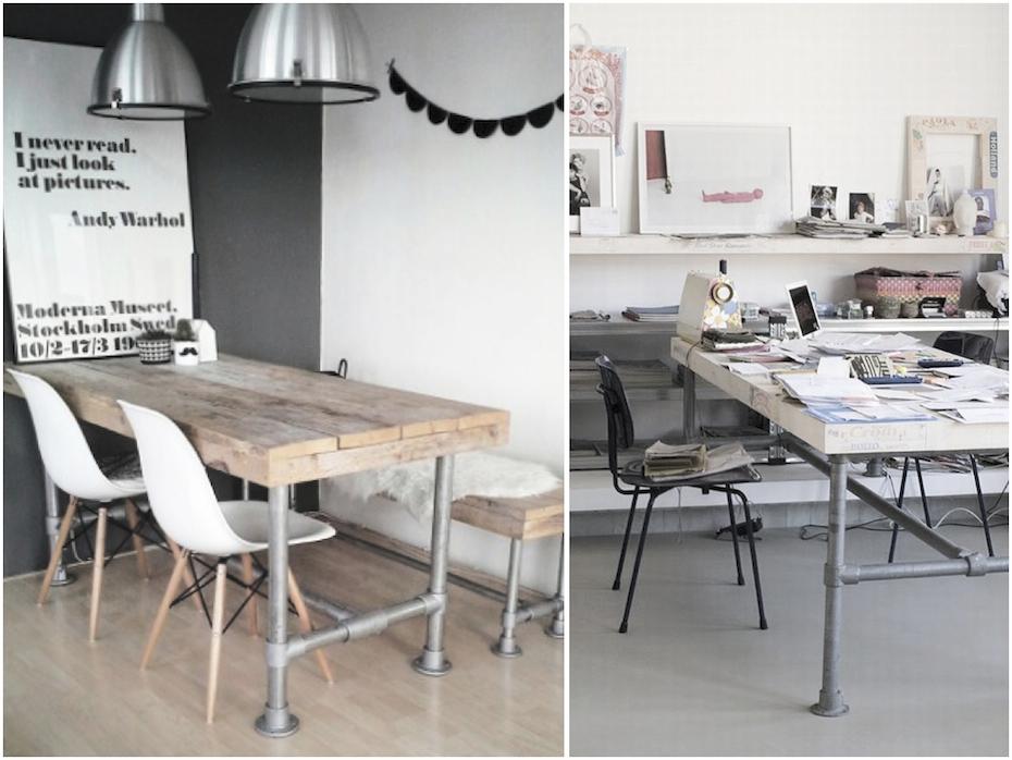 DIY pipe legs table - via HOMESICK.nu