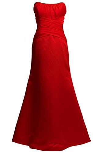Kleid rot satin lang Rückenfreies Kleid