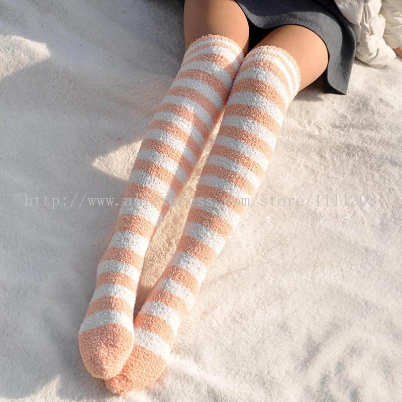 Knee-socks-warm-striped-Fuzzy-Sock-long-cozy-feet-warm-winter-home-sleep-thigh-high-stockings