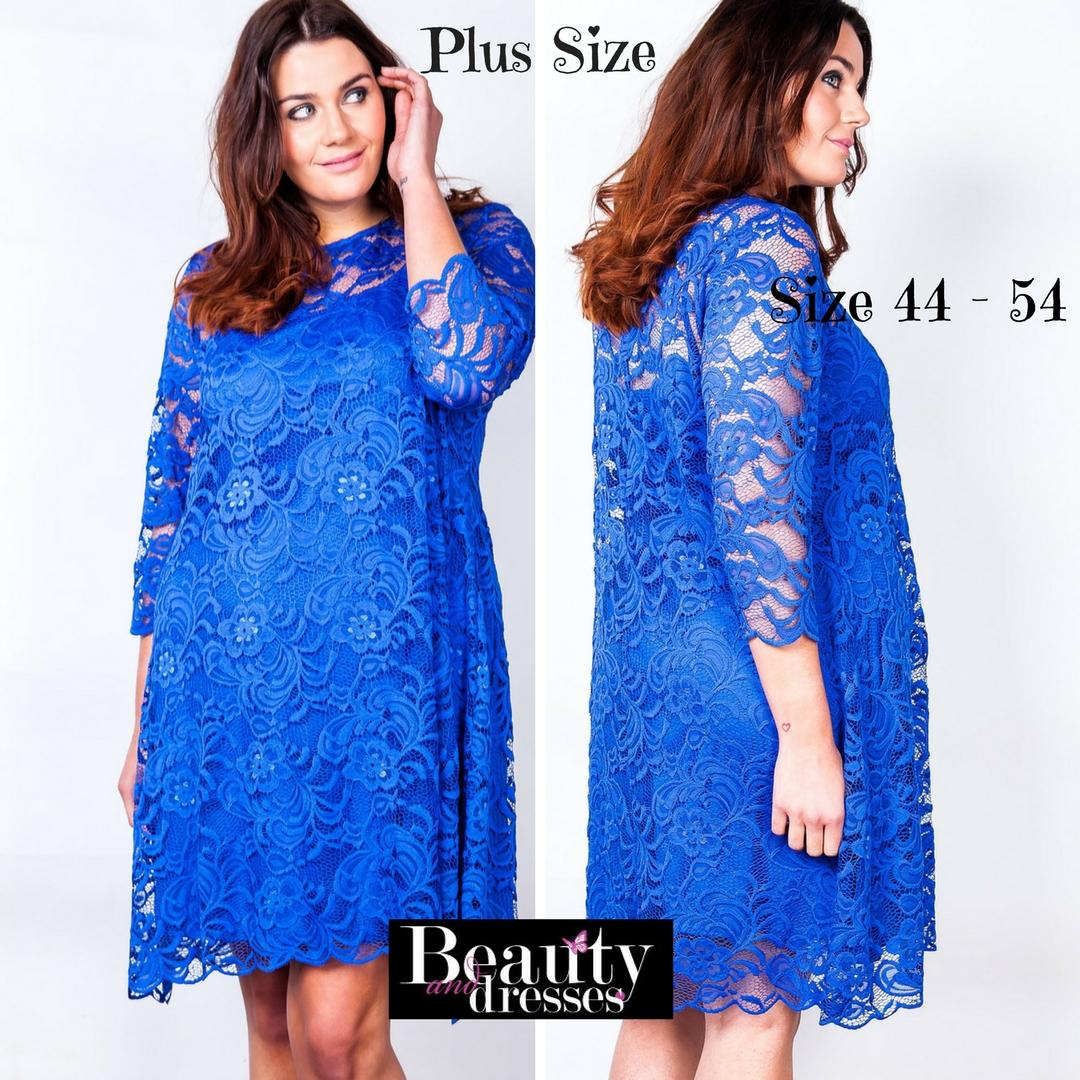 Smuk blå kjole i stor størrelse | Køb plus size blå blondekjoler HER