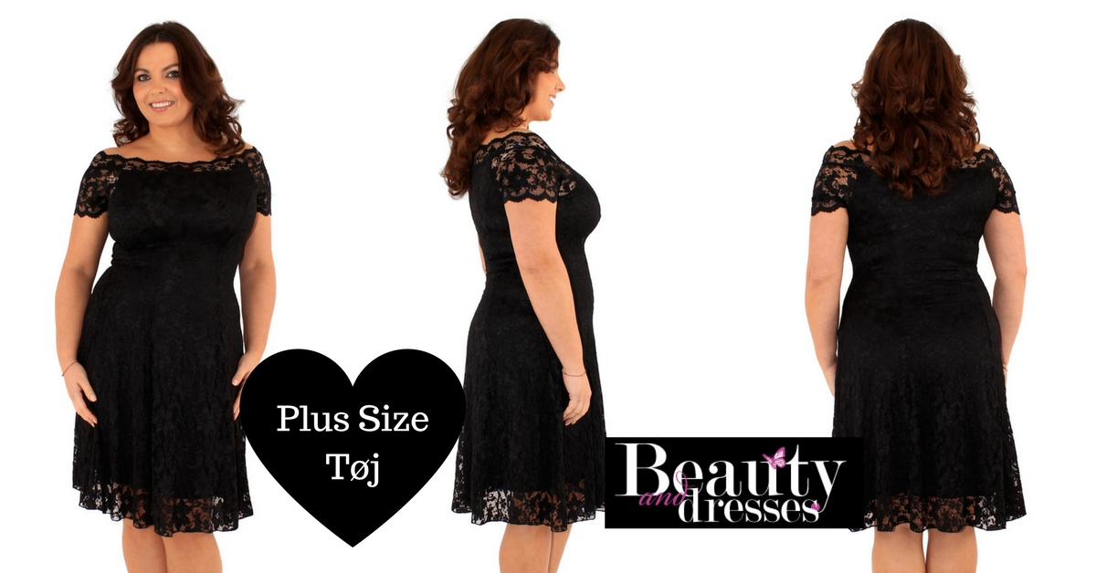 Plus size sort blondekjole med korte ærmer | Køb store kjoler HER