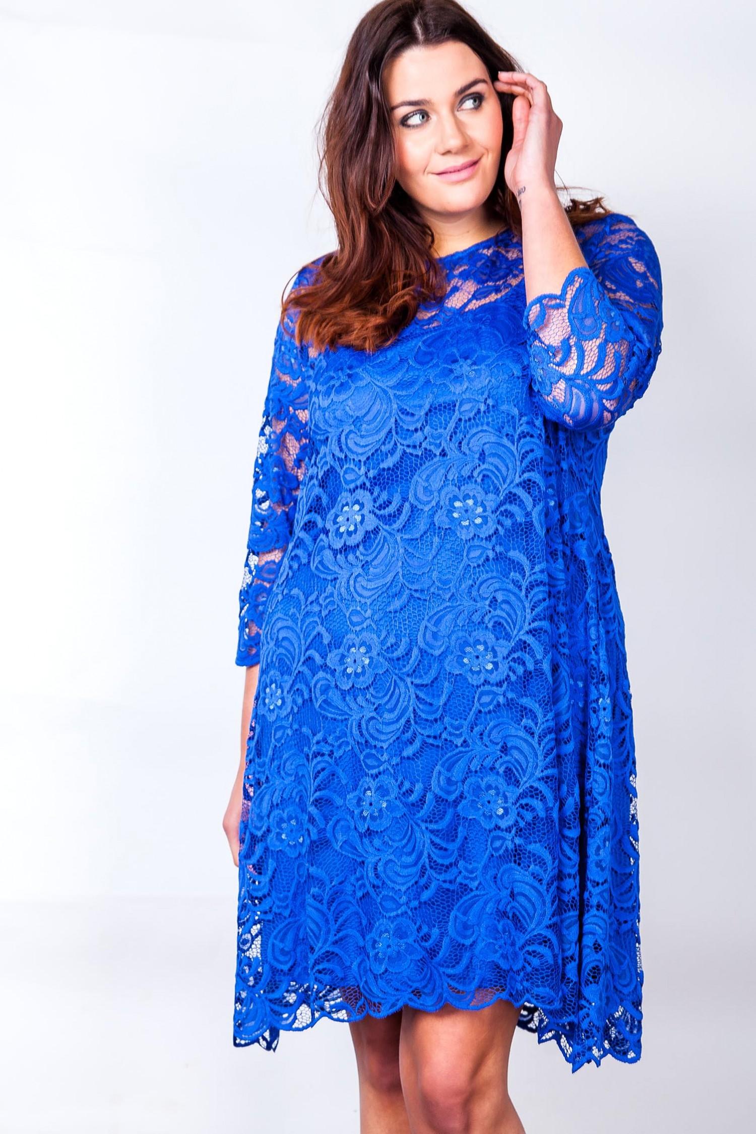 Smuk blå blondekjole i stor størrelse | 44 til 54 KØB HER