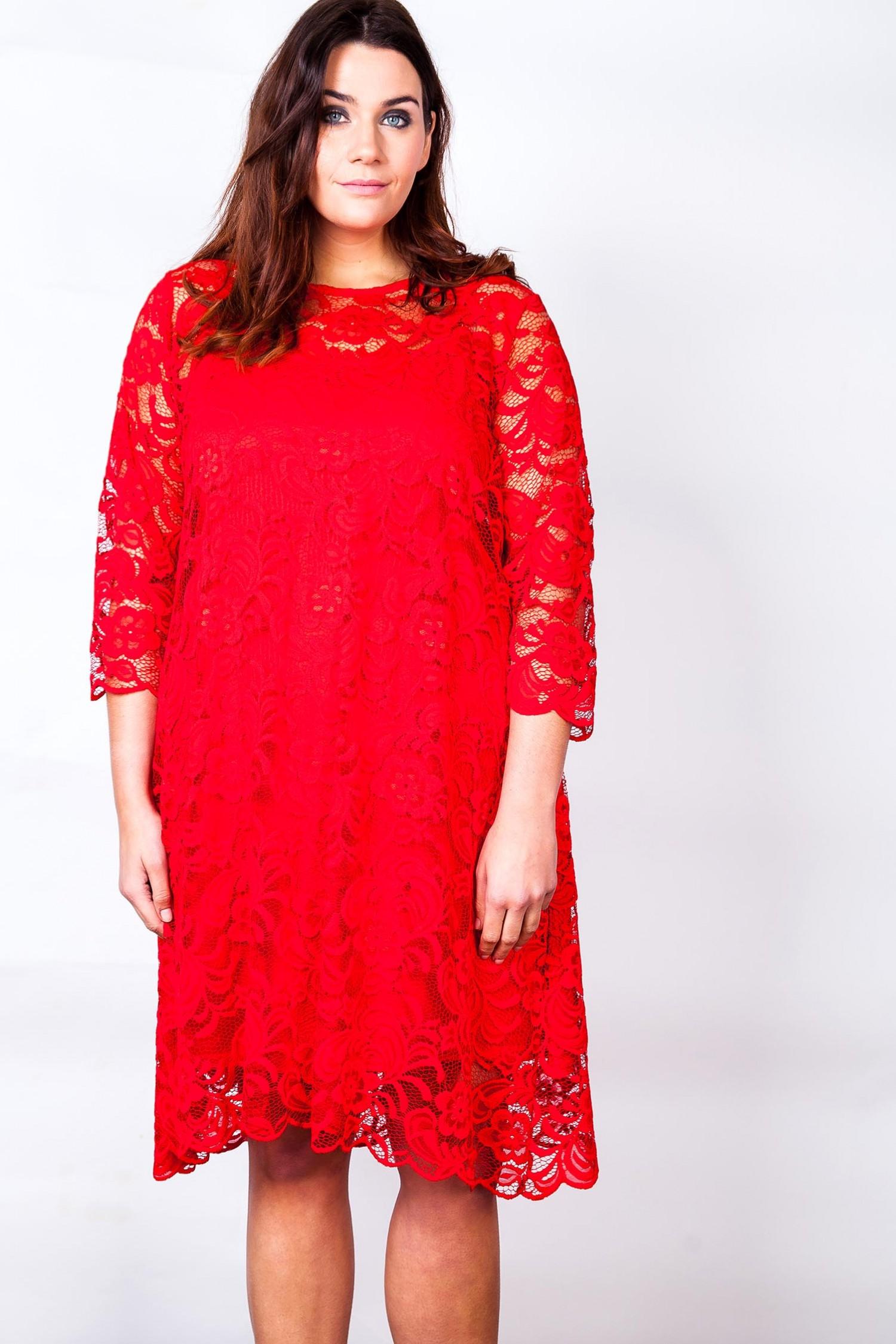 Flot rød blondekjole i stor størrelse | 44 til 54 | KØB HER