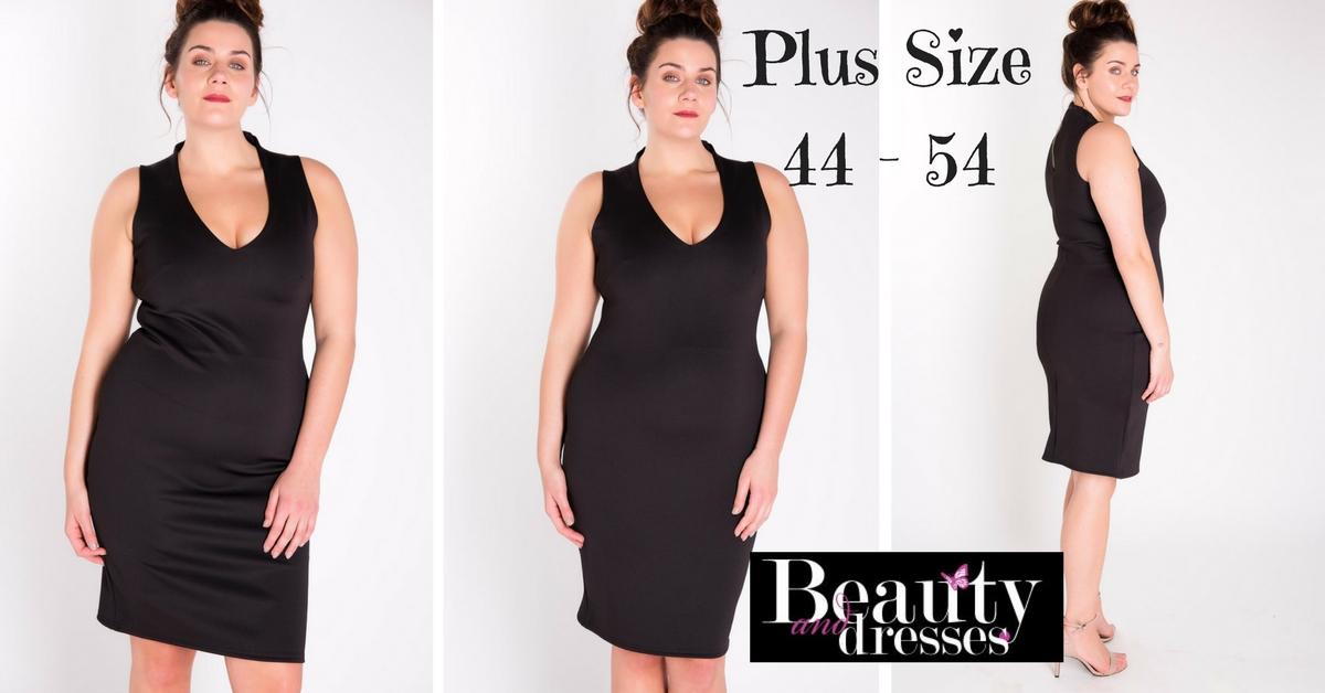 Kort sort plus size kjole i flot design | Plus size kjoler