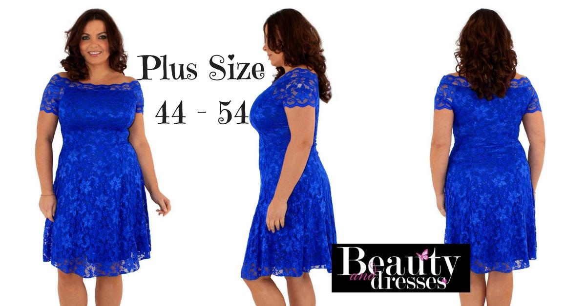 Blå kort plus size blondekjoler i yndig design og til under 400 kr.