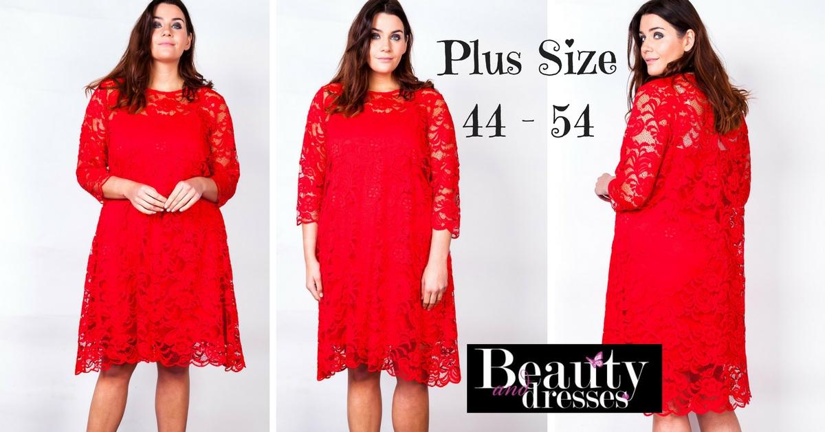 Køb røde blondekjoler i stor størrelse og plus size online HER.