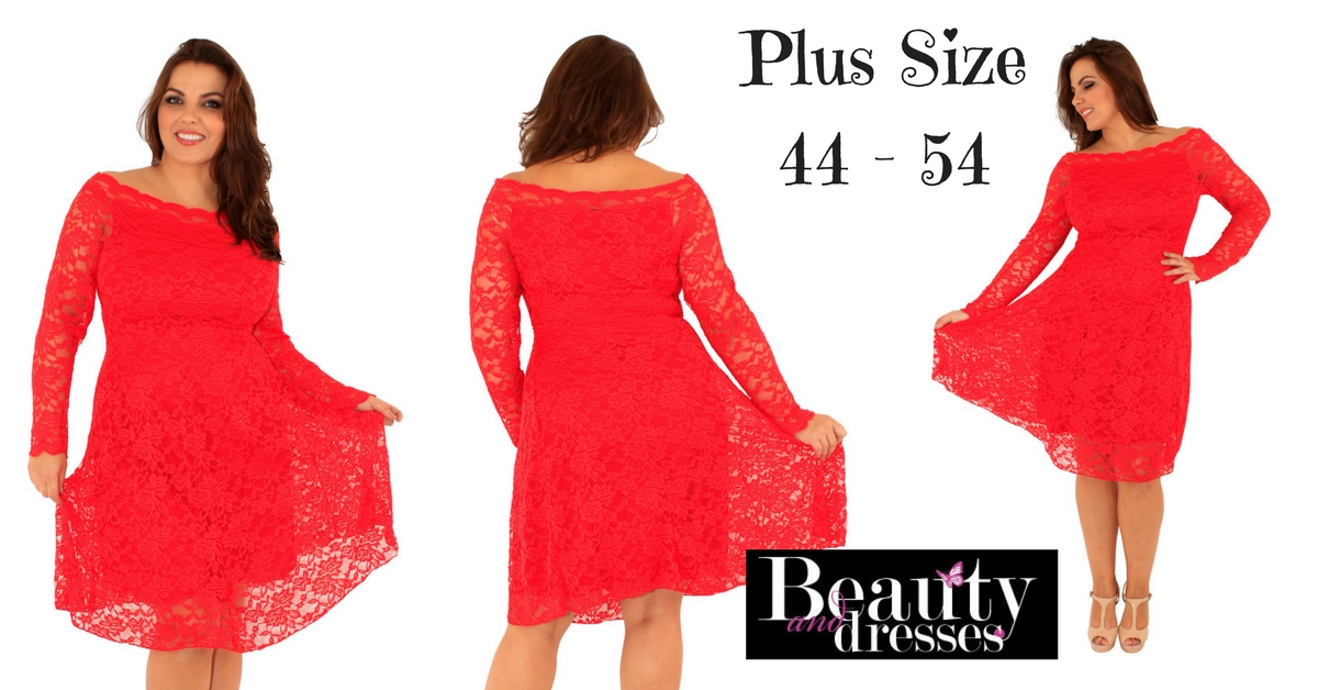 Smuk rød plus size blondekjoler i meget bløde materialer | Plus size kjoler