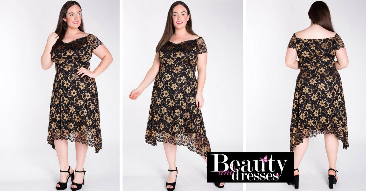 Smuk sort plus size blondekjole med guld blomster | Plus size blondekjoler.