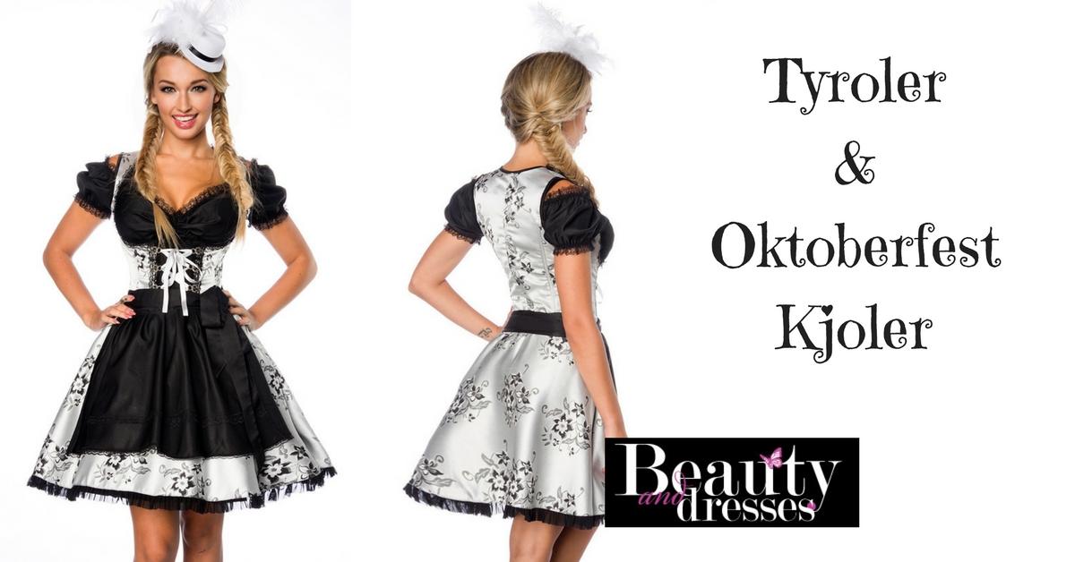 Smuk sort og sølv tyroler kjole og Oktoberfest kjole