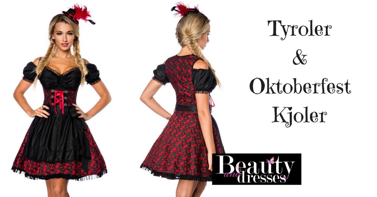 Smuk sort og rød Tyroler og Oktoberfest kjole med blomster