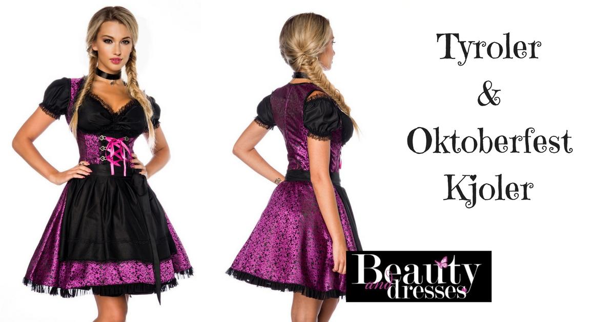 Smuk lilla og sort Tyroler kjole i fantastisk look | Tyroler kjoler online
